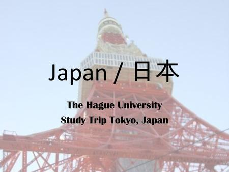 Japan / 日本 The Hague University Study Trip Tokyo, Japan.