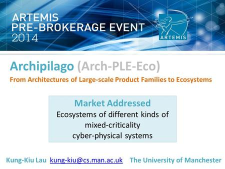 Archipilago (Arch-PLE-Eco) From Architectures of Large-scale Product Families to Ecosystems Market Addressed Ecosystems of different kinds of mixed-criticality.