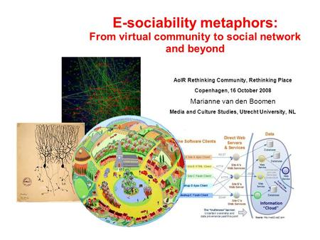 E-sociability metaphors: From virtual community to social network and beyond AoIR Rethinking Community, Rethinking Place Copenhagen, 16 October 2008 Marianne.