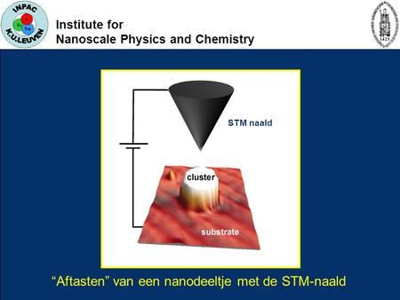 "Institute for Nanoscale Physics and Chemistry ""Aftasten"" van een nanodeeltje met de STM-naald STM naald."