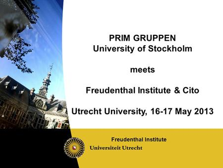 PRIM GRUPPEN University of Stockholm meets Freudenthal Institute & Cito Utrecht University, 16-17 May 2013 Freudenthal Institute.