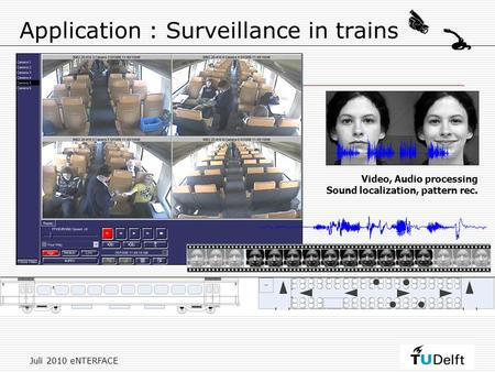 Juli 2010 eNTERFACE Application : Surveillance in trains Video, Audio processing Sound localization, pattern rec.