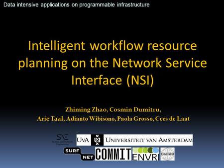 Intelligent workflow resource planning on the Network Service Interface (NSI) Zhiming Zhao, Cosmin Dumitru, Arie Taal, Adianto Wibisono, Paola Grosso,