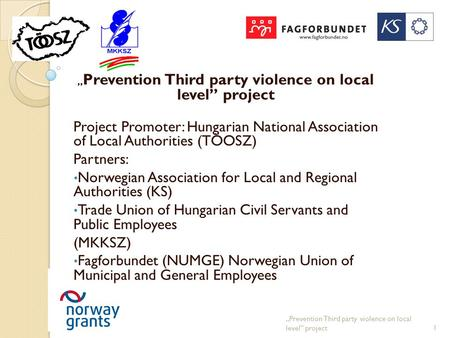 """ Prevention Third party violence on local level"" project Project Promoter: Hungarian National Association of Local Authorities (TÖOSZ) Partners: Norwegian."