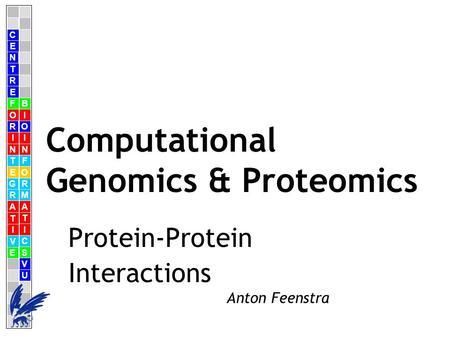 C E N T R F O R I N T E G R A T I V E B I O I N F O R M A T I C S V U E Anton Feenstra Computational Genomics & Proteomics Protein-Protein Interactions.