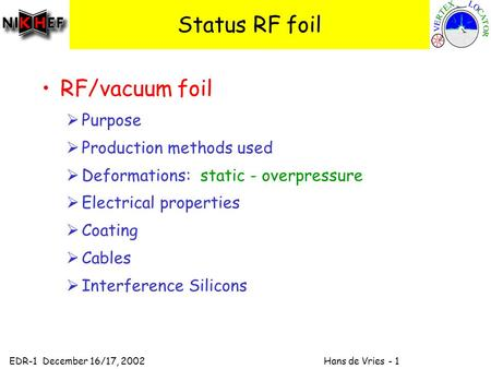 EDR-1 December 16/17, 2002 Hans de Vries - 1 Status RF foil RF/vacuum foil  Purpose  Production methods used  Deformations: static - overpressure 
