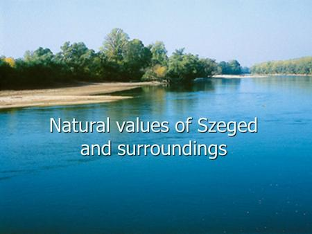 Natural values of Szeged and surroundings. Szeged Third biggest town in Hungary Third biggest town in Hungary 170 000 inhabitants 170 000 inhabitants.