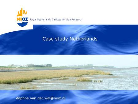 Royal Netherlands Institute for Sea Research 1 Case study Netherlands.