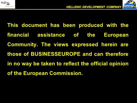 This document has been produced with the financial assistance of the European Community. The views expressed herein are those of BUSINESSEUROPE and can.