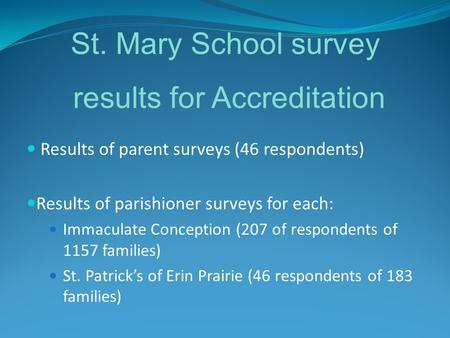 Results of parent surveys (46 respondents) Results of parishioner surveys for each: Immaculate Conception (207 of respondents of 1157 families) St. Patrick's.