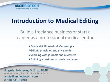 Introduction to Medical Editing Build a freelance business or start a career as a professional medical editor  Medical & Biomedical Manuscripts  Editing.