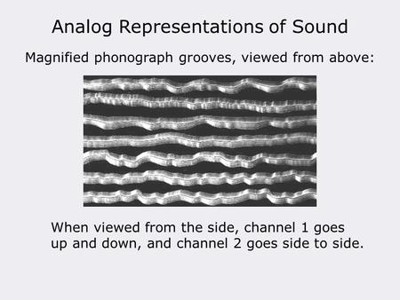 Analog Representations of Sound Magnified phonograph grooves, viewed from above: When viewed from the side, channel 1 goes up and down, and channel 2 goes.