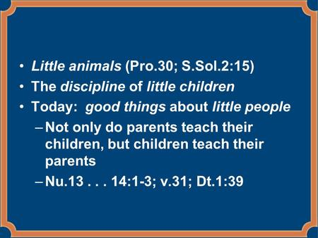 Little animals (Pro.30; S.Sol.2:15) The discipline of little children Today: good things about little people –Not only do parents teach their children,