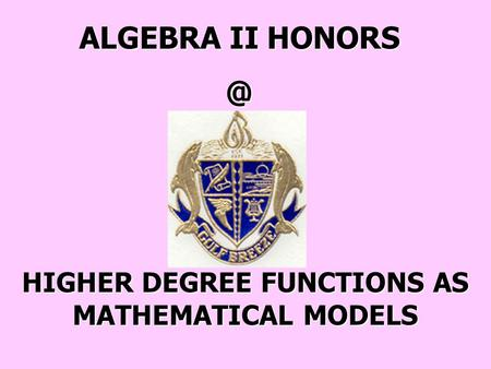 ALGEBRA II HONORS/GIFTED - SECTION 10-6