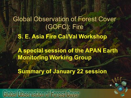 Global Observation of Forest Cover (GOFC): Fire S. E. Asia Fire Cal/Val Workshop A special session of the APAN Earth Monitoring Working Group Summary of.