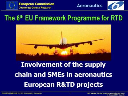 European Commission Directorate General Research NCP training - Parallel session on aeronautics and space 16 October 2002 - Brussels Aeronautics EUROPEAN.