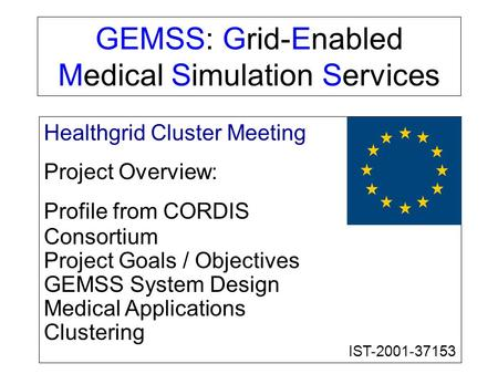 GEMSS: Grid-Enabled Medical Simulation Services Healthgrid Cluster Meeting Project Overview: Profile from CORDIS Consortium Project Goals / Objectives.