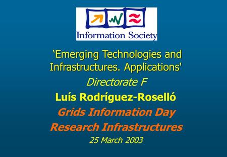 'Emerging Technologies and Infrastructures. Applications' 'Emerging Technologies and Infrastructures. Applications' Directorate F Luís Rodríguez-Roselló.