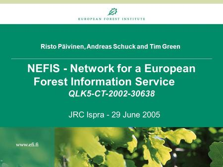 Risto Päivinen, Andreas Schuck and Tim Green NEFIS - Network for a European Forest Information Service QLK5-CT-2002-30638 JRC Ispra - 29 June 2005.