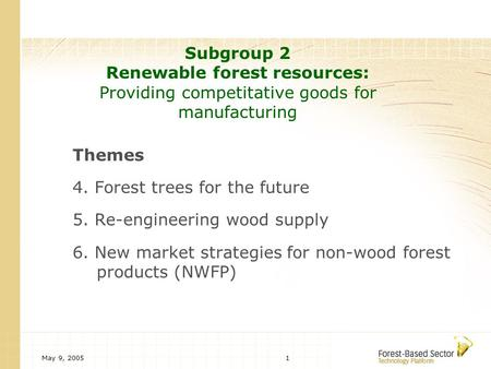 May 9, 20051 Subgroup 2 Renewable forest resources: Providing competitative goods for manufacturing Themes 4. Forest trees for the future 5. Re-engineering.