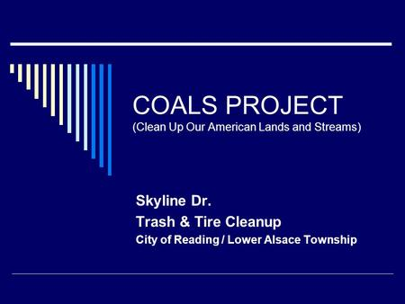 COALS PROJECT (Clean Up Our American Lands and Streams) Skyline Dr. Trash & Tire Cleanup City of Reading / Lower Alsace Township.