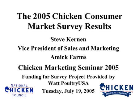 The 2005 Chicken Consumer Market Survey Results Steve Kernen Vice President of Sales and Marketing Amick Farms Chicken Marketing Seminar 2005 Funding for.