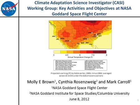 Climate Adaptation Science Investigator (CASI) Working Group: Key Activities and Objectives at NASA Goddard Space Flight Center Molly E Brown 1, Cynthia.