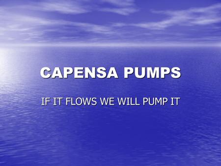 CAPENSA PUMPS IF IT FLOWS WE WILL PUMP IT. COMPANY PROFILE PINE TOWN BASED PUMP SPECIALIST PINE TOWN BASED PUMP SPECIALIST ESTABLISHED IN MARCH 2001 ESTABLISHED.