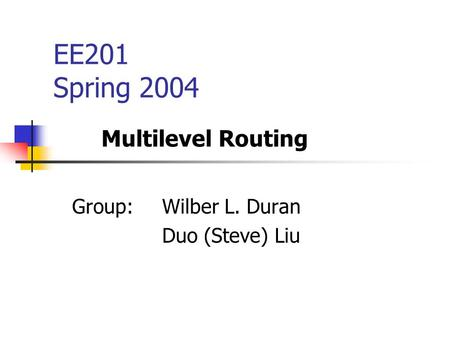 EE201 Spring 2004 Group: Wilber L. Duran Duo (Steve) Liu Multilevel Routing.