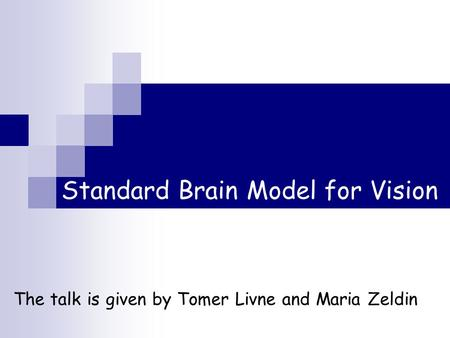 Standard Brain Model for Vision The talk is given by Tomer Livne and Maria Zeldin.