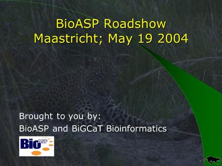 BioASP Roadshow Maastricht; May 19 2004 Brought to you by: BioASP and BiGCaT Bioinformatics.