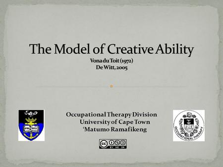 The Model of Creative Ability Vona du Toit (1972) De Witt, 2005