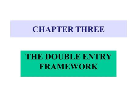 "CHAPTER THREE THE DOUBLE ENTRY FRAMEWORK. ""T"" Accounts DebitCredit SHAPED LIKE a "" T """