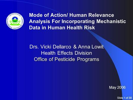 Slide 1 of 38 Office of Pesticide Programs Drs. Vicki Dellarco & Anna Lowit Health Effects Division Office of Pesticide Programs Mode of Action/ Human.