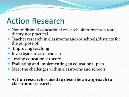 teacher action research paper on reading The action research process begins with serious reflection directed toward  selecting a focus begins with the teacher researcher or the team of action.
