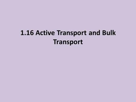 1.16 Active Transport and Bulk Transport