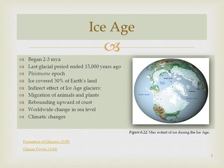   Began 2-3 mya  Last glacial period ended 15,000 years ago  Pleistocene epoch  Ice covered 30% of Earth's land  Indirect effect of Ice Age glaciers:
