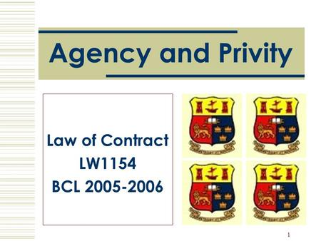 1 Agency and Privity Law of Contract LW1154 BCL 2005-2006.
