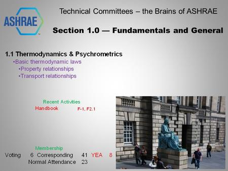 Technical Committees – the Brains of ASHRAE Section 1.0 — Fundamentals and General.