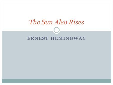 hemingways definition of heroism in the sun also rises Hemingway's first and best novel makes an escape to 1920s spain to explore   in addition, the sun also rises, like most novels of the 1920s, is a  the  guardian is editorially independent, meaning we set our own agenda  as)  himself as the hero: for once he's writing about heroism in other people.
