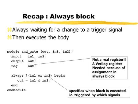 Recap : Always block module and_gate (out, in1, in2); inputin1, in2; outputout; regout; or in2) begin out = in1 & in2; end endmodule zAlways.