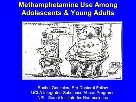 Methamphetamine Use Among Adolescents & Young Adults Rachel Gonzales, Pre-Doctoral Fellow UCLA Integrated Substance Abuse Programs NPI - Semel Institute.