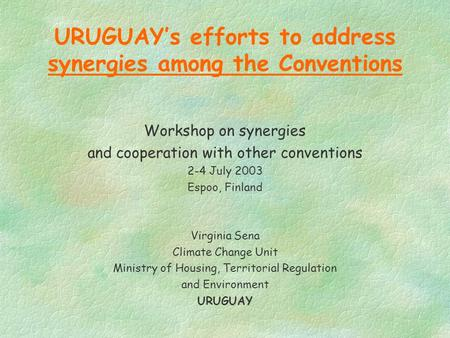 URUGUAY's efforts to address synergies among the Conventions Workshop on synergies and cooperation with other conventions 2-4 July 2003 Espoo, Finland.