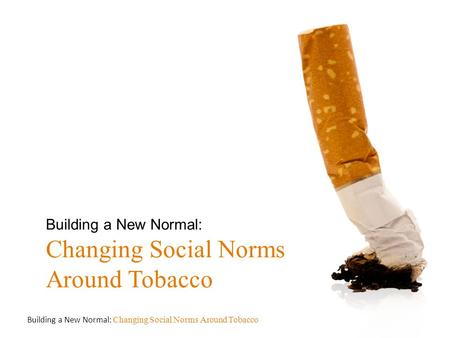 Building a New Normal: Changing Social Norms Around Tobacco.