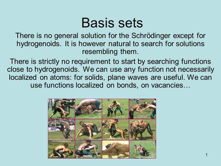 1 Basis sets There is no general solution for the Schrödinger except for hydrogenoids. It is however natural to search for solutions resembling them. There.