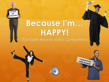 Because I'm… HAPPY! 2014 Spirit Awards Video Competition I passed my state boards! 10 years with Marinello!