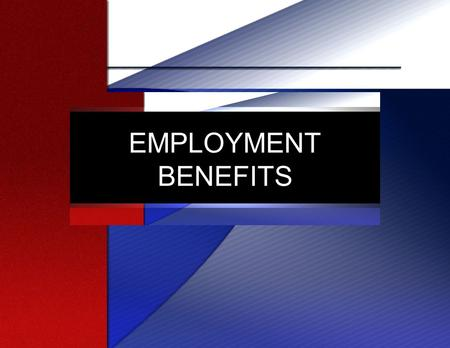 EMPLOYMENT BENEFITS. Employee Benefit Programs Part of Total Compensation Some Government Mandated Some Incentive Related Part of Cost of Doing Business.