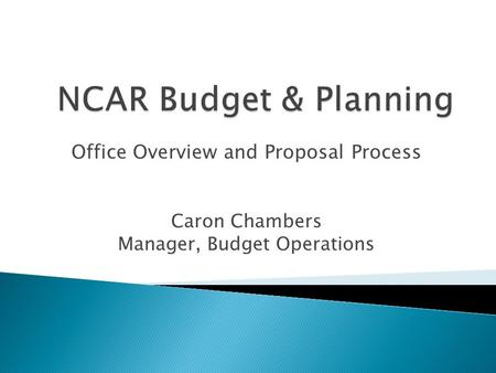 Office Overview and Proposal Process Caron Chambers Manager, Budget Operations.