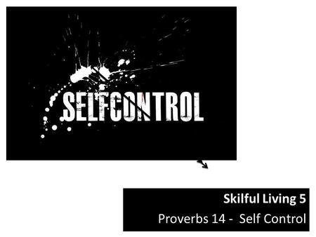 Skilful Living 5 Proverbs 14 - Self Control.  x3S0xS2hdi4 See link above for video used in sermon.