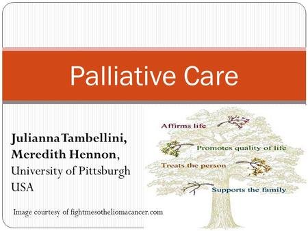 Palliative Care Image courtesy of fightmesotheliomacancer.com Julianna Tambellini, Meredith Hennon, University of Pittsburgh USA.